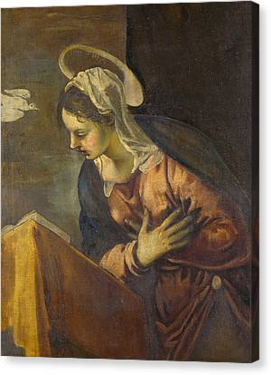 Virgin From The Annunciation To The Virgin Canvas Print by Tintoretto