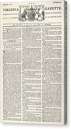 Virginia Gazette, 1776 Canvas Print by Granger
