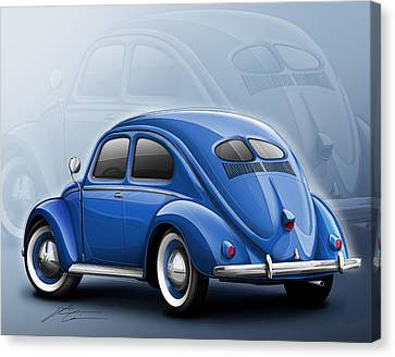 Beetle Canvas Print - Volkswagen Beetle Vw 1948 Blue by Etienne Carignan
