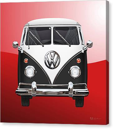 Volkswagen Type 2 - Black And White Volkswagen T 1 Samba Bus On Red  Canvas Print by Serge Averbukh