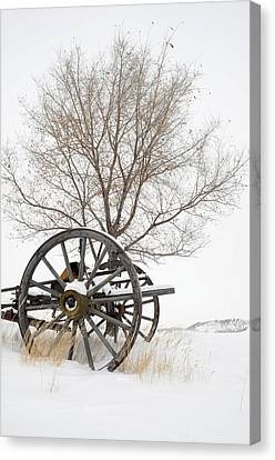 Wagon In The Snow Canvas Print