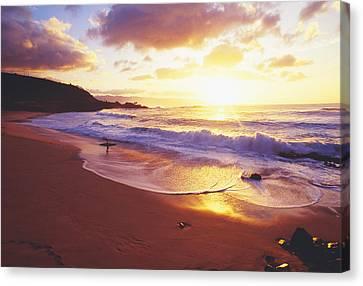 Waimea Bay Sunset Canvas Print by Bob Abraham - Printscapes
