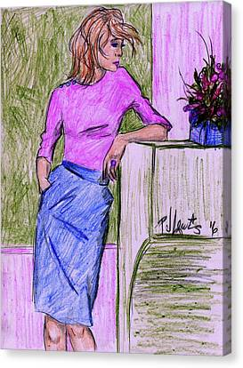 Canvas Print featuring the drawing Waiting by P J Lewis