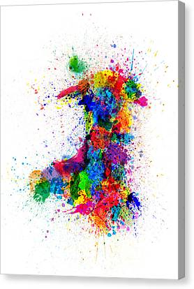 Wales Paint Splashes Map Canvas Print by Michael Tompsett