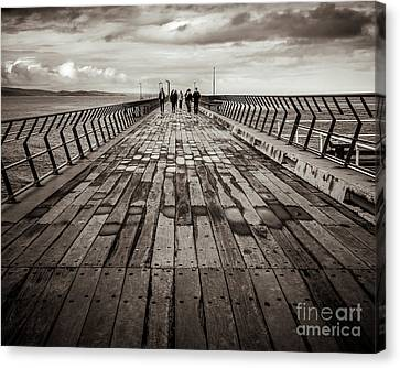 Canvas Print featuring the photograph Walking The Pier by Perry Webster