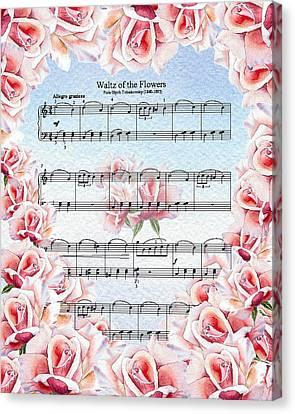 Waltz Of The Flowers Pink Roses Canvas Print by Irina Sztukowski
