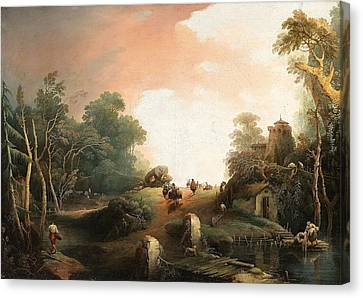 Wanderer In Einer Hgeligen Landschaft Canvas Print by Giuseppe Bernardino