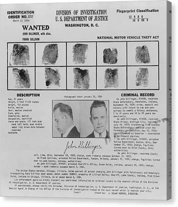 Lcgr Canvas Print - Wanted Poster For John Dillinger by Everett
