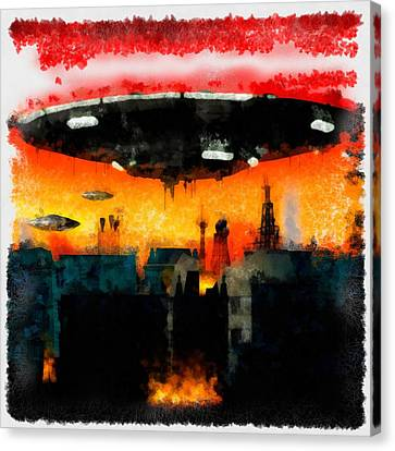 War Of The Worlds Canvas Print by Esoterica Art Agency