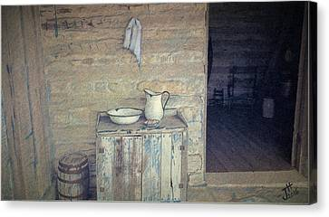 Old Cabins Canvas Print - Welcome Respite by J L Hodges