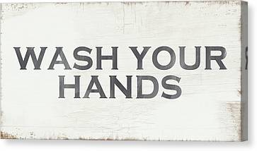Wash Your Hands Modern Farm Sign- Art By Linda Woods Canvas Print