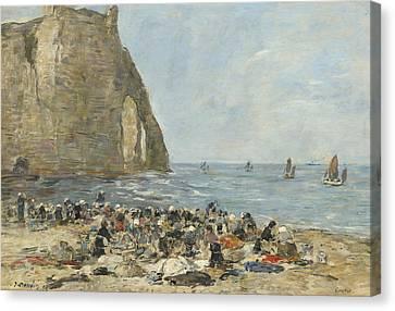 Washerwomen On The Beach Of Etretat Canvas Print by Eugene Boudin