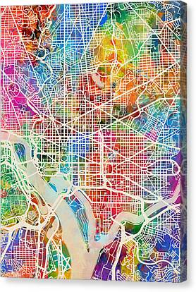 District Columbia Canvas Print - Washington Dc Street Map by Michael Tompsett