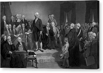 Washington Delivering His Inaugural Address Canvas Print