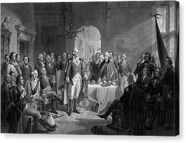 Washington Meeting His Generals Canvas Print
