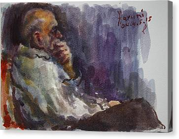 Old Man Canvas Print - Man Watching Tv  by Ylli Haruni