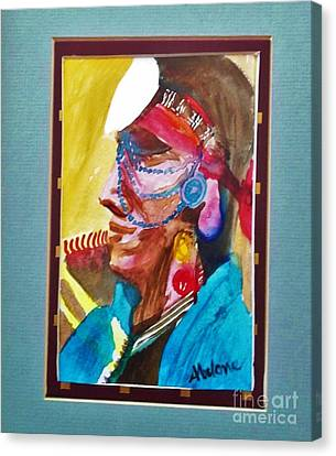 Water Healing Ceremonial Chief Yaz Canvas Print by Abelone Petersen