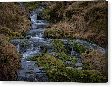 Canvas Print featuring the photograph Waterfall At Glendevon In Scotland by Jeremy Lavender Photography