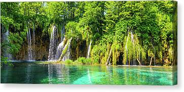 Waterfalls At Plitvice National Park In Croatia Canvas Print by Brandon Bourdages