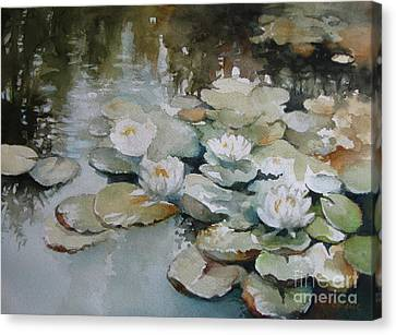 Canvas Print featuring the painting Waterlilies by Elena Oleniuc