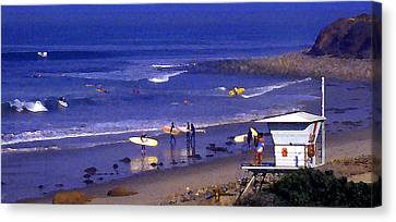 Wave Riding At County Line Canvas Print by Ron Regalado