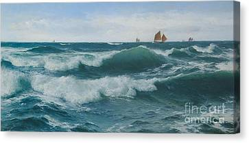 Waves Breaking In Shallow Waters Canvas Print by Celestial Images