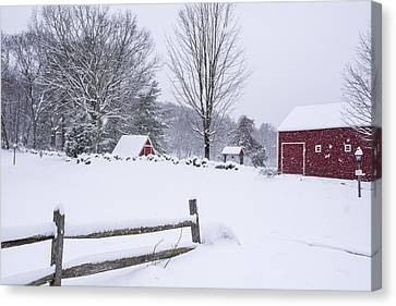 Wayside Inn Grist Mill Canvas Print - Wayside Inn Grist Mill Covered In Snow Storm by Toby McGuire