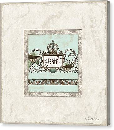 Welcome To Our Nest - Bath Vintage Birds W Crown Canvas Print by Audrey Jeanne Roberts