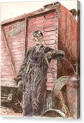 Welder Canvas Print by Roger Parnow