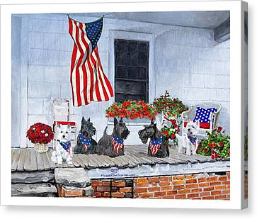 Westies And Scotties Await The Big Parade Canvas Print by Ann Kallal