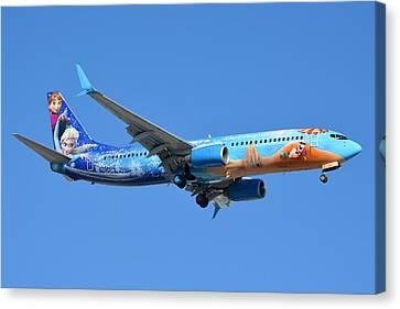 Westjet Boeing 737-8ct C-gwsv Frozen Phoenix Sky Harbor January 29 2016 Canvas Print by Brian Lockett