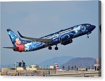 Westjet Boeing 737-8ct C-gwsz Magic Plane Phoenix Sky Harbor January 22 2016 Canvas Print by Brian Lockett