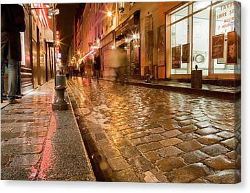 Canvas Print featuring the photograph Wet Paris Street by Matthew Bamberg