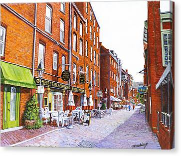 Wharf Street Portland Maine Canvas Print by Thomas Michael Meddaugh