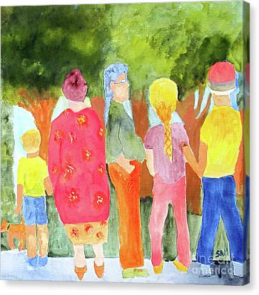 Canvas Print featuring the painting What's To See by Sandy McIntire