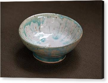 White Ceramic Bowl With Turquoise Blue Glaze Drips Canvas Print by Suzanne Gaff