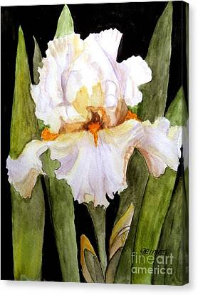 White Iris In The Garden Canvas Print by Carol Grimes