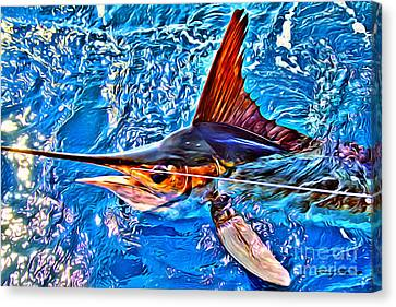 Water Filter Canvas Print - White Marlin by Carey Chen