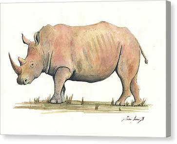 White Rhino Canvas Print by Juan Bosco