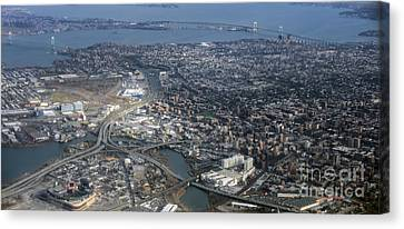 Whitestone Queens Aerial Photo In New York City Canvas Print by David Oppenheimer