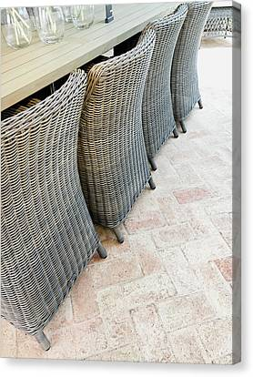 Empty Chairs Canvas Print - Wicker Chairs by Tom Gowanlock