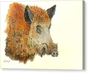 Boars Canvas Print - Wild Boar Watercolor Painting by Juan  Bosco