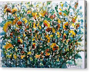 Canvas Print featuring the painting Wild Flowers#3 by Laila Awad Jamaleldin