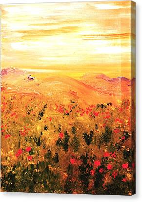 Wild Roses Canvas Print by Evelina Popilian