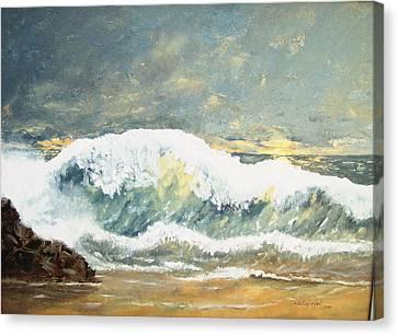 Wild Wave Canvas Print by Miroslaw  Chelchowski