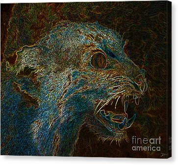 Growling Canvas Print - Wildcat by David Lee Thompson