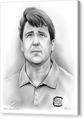 Carolina Canvas Print - Will Muschamp by Greg Joens