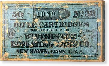 Winchester Rifle Cartridges Sign Canvas Print by Jon Neidert
