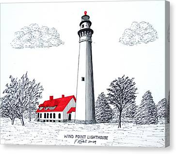 Wind Point Lighthouse Canvas Print by Frederic Kohli