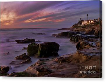 Canvas Print featuring the photograph Windansea Beach At Dusk by Eddie Yerkish